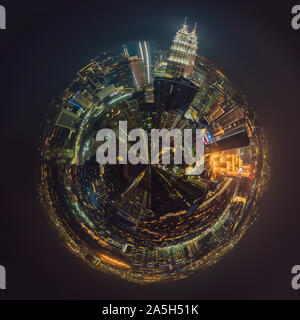 Circular, Stereographic, Polar panorama Kuala lumpur cityscape. Panoramic view of Kuala Lumpur city skyline at night viewing skyscrapers building in - Stock Photo