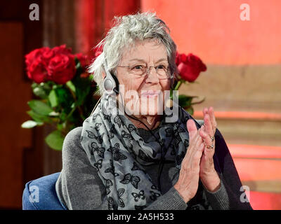 Prague, Czech Republic. 18th Oct, 2019. Australian authoress Germaine Greer debates during a gala evening at Writers' Festival Prague, Czech Republic, on October 18, 2019. Credit: Roman Vondrous/CTK Photo/Alamy Live News - Stock Photo