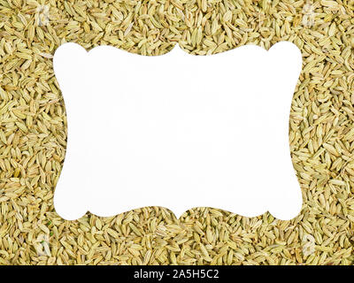 White name plate for copy space on background from Fennel. Recipe concept - Stock Photo