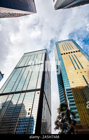 Skyscrapers on Gloucester Road. Wan Chai, Hong Kong, China. - Stock Photo