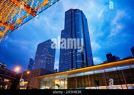 High-rise buildings at dusk. Central, Hong Kong, China.