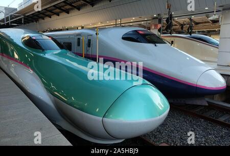 Tokyo, Japan - January 1, 2018: Shinkansen high-speed trains (bullet trains) parked at Tokyo Station in Tokyo. - Stock Photo