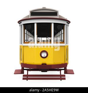 Vintage Yellow Tram Isolated - Stock Photo