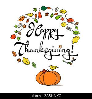 Happy Thanksgiving lettering typography poster. Collage of handwritten font, autumn leaves, cones, flowers and petals, flat top view, on white backgro - Stock Photo