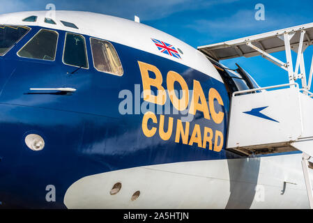Golden Age of Flying. Vintage BOAC Cunard Super VC10 airliner G-ASGC on static display at the Imperial War Museum Duxford Cambridge. - Stock Photo