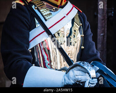 Horse Guards London - Close up detail of a Mounted Trooper of the Household Cavalry Blues and Royals on guard on Whitehall, Central London - Stock Photo