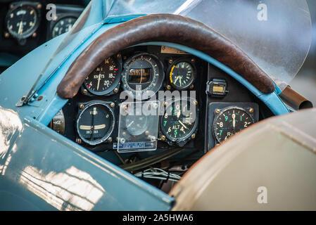 Boeing Stearman Cockpit - Boeing Stearman PT17 Biplane trainer aircraft at the Imperial War Museum, Duxford, Cambridgeshire UK - Stock Photo