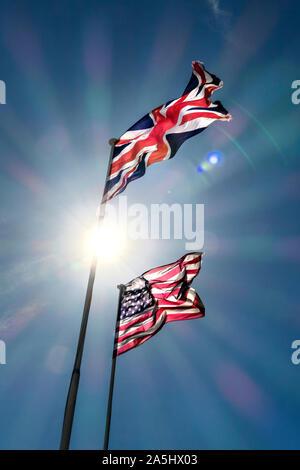 england and american flag - Stock Photo