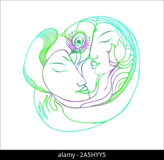 Neon picture of a couple. Gradient illustration natural love - Stock Photo