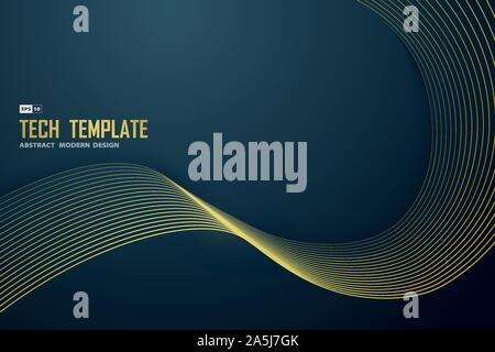 Abstract gold line on gradient blue of luxury template design. Use for poster, artwork, template design. illustration vector eps10 - Stock Photo