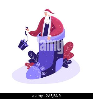 Merry Christmas and Happy winter Holidays. Happy Santa in festive fairy smart sock Before Xmas. Smiling character hasting in a hurry to congratulate c - Stock Photo