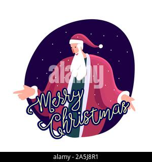 Merry Christmas and Happy Holidays. Santa Claus congratulate with winter season and holly eve. Snowing Outdoors Before Xmas. Greeting Christmassy card - Stock Photo