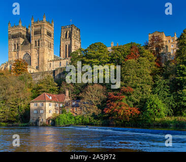 Durham Cathedral in Autumn, City of Durham, England, United Kingdom - Stock Photo
