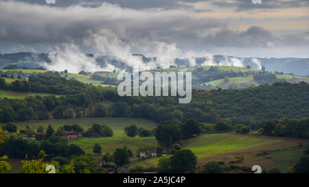 landscape in the dordogne valley in france near Castelnau-bretenoux - Stock Photo