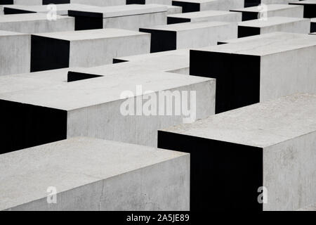 BERLIN, GERMANY - MAY 26, 2018: Detail of the Memorial to the Murdered Jews of Europe, also known as Holocaust Memorial, in Berlin, Germany - Stock Photo