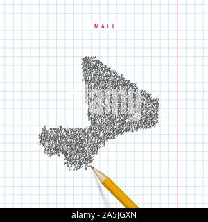 Mali sketch scribble map drawn on checkered school notebook paper background. Hand drawn vector map of Mali. Realistic 3D pencil. - Stock Photo