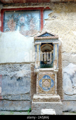 Casa dello Scheletro, archaeological site, Herculaneum, Ercolano, Naples, Campania, Italy - Stock Photo