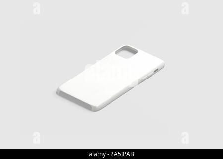 Blank white phone case mockup, isolated on gray, 3d rendering. Empty plastic hood for new gadget mock up, side view. Clear slim jacket cellphone prote - Stock Photo