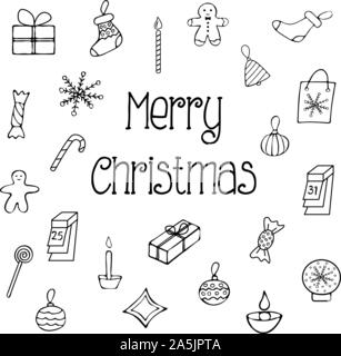 A set of Christmas tree toys with the inscription of a merry Christmas. Doodle style illustration - Stock Photo