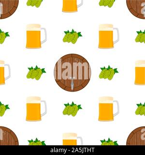 Illustration on theme big colored pattern oktoberfest, german holiday it fest barrel. Pattern consisting of collection fest barrel, accessory for okto - Stock Photo