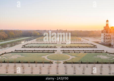 France, Loir et Cher, Loire Valley listed as World Heritage by UNESCO, Chambord, royal castle, the French gardens and the canalized Cosson river, sunr
