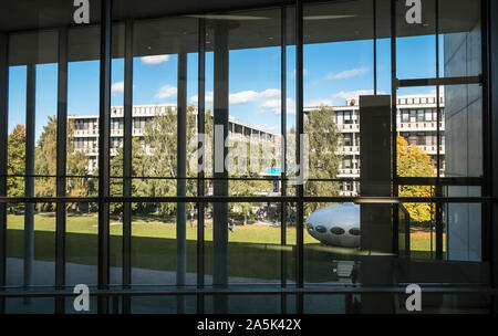 View outside of Pinakothek Der Moderne museum, Kunstareal, Munich, Bavaria, Germany, one of the worlds largest modern art museums. - Stock Photo