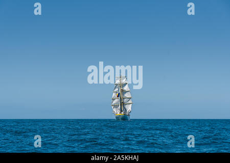 Mircea, a Romanian flagged square rigged sailing ship in the English Channel - Stock Photo