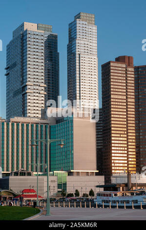 Modern office buildings skyscrapers along lower West Side in New York City New York USA in Hudson  River Greenway. - Stock Photo