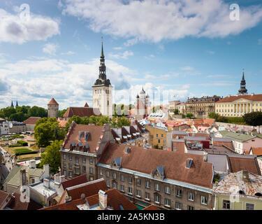 Tallinn view from Town Hall Tower, Estonia - Stock Photo