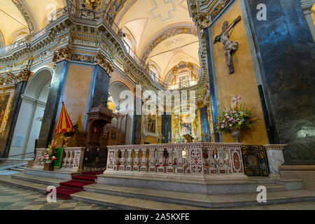One of the 10 chapels in the Baroque Nice Cathedral, also known as Cathedral Sainte-Reparate de Nice. - Stock Photo