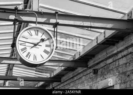 Clock at Swanage station, Dorset, UK - Stock Photo