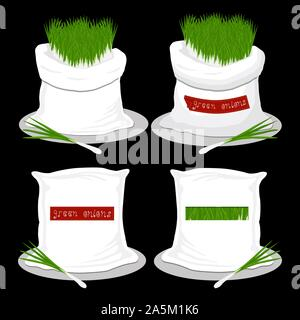 Vector illustration for bags filled with vegetable young green onion, storage in sacks. Onion pattern consisting of ripe food, raw product on open Sac - Stock Photo