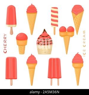 Vector illustration for natural cherry ice cream on stick, in paper bowls, wafer cones. Ice Cream consisting of sweet cold icecream lolly, set tasty f - Stock Photo