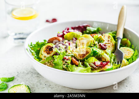 Fried brussels sprouts salad with quinoa, cranberries and nuts in a white bowl. Healthy vegan food concept. - Stock Photo