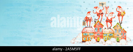 Merry Christmas and Happy Holidays nursery greeting card, frame, banner. New Year. Noel. Christmas Santa Clauses, houses and gifts on blue background - Stock Photo