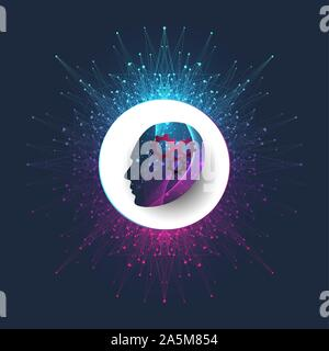 Artificial intelligence logo vector icon AI banner. Cloud computing concept. Data mining, neural network and machine learning programming. Technology - Stock Photo