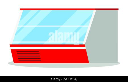 Supermarket or shop showcase horizontal empty refridgerator icon isolated on white background. Refrigerator dispenser cooling machine. Vector illustra - Stock Photo