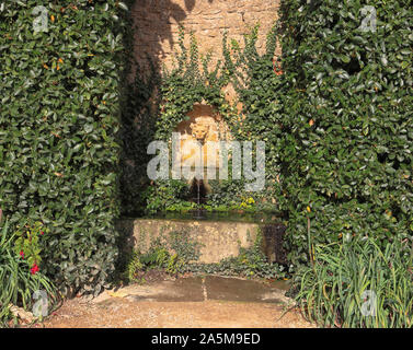 Water feature in an English walled garden - Stock Photo