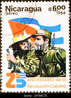 Fidel Castro and Che Guevara on postage stamp of Nicaragua
