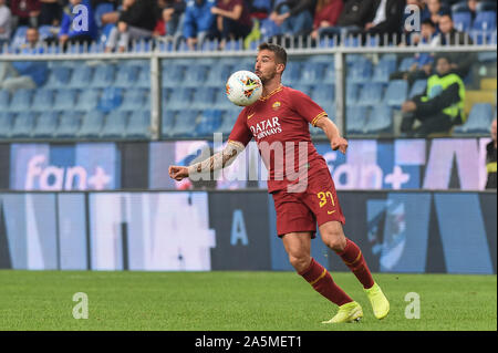 Leonardo Spinazzola (Roma) during Sampdoria vs AS Roma, Genova, Italy, 20 Oct 2019, Soccer Italian Soccer Serie A Men Championship - Stock Photo