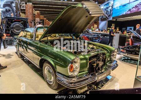 FRANKFURT, GERMANY - SEPT 2019: green MERCEDES-BENZ W113 280SL PAGODA BRABUS cabrio 1963 1971, IAA International Motor Show Auto Exhibtion. - Stock Photo