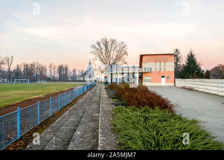 Szigetvar Spa and thermal baths next to the football pitch, Hungary - Stock Photo
