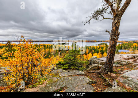Top of the world trail overlook, In autumn, Whiteshell Provincial Park, Manitoba, Canada. - Stock Photo