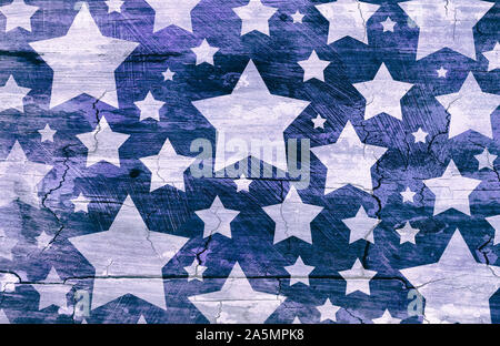 White stars on distressed vintage blue background wall with cracks and peeling paint brush strokes on barn wood grunge texture, old faded patriotic ba - Stock Photo