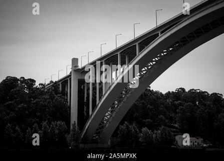 Ponte da Arrabida bridge on the southern bank of the river Douro, Porto, Portugal - Stock Photo
