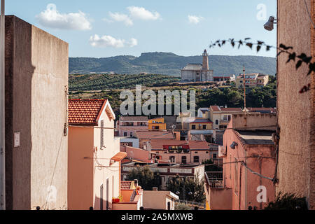 Panoramic view over the lighthouse of Castelsardo, Sardinia - Stock Photo