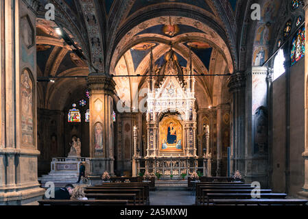 FLORENCE, ITALY - 25, MARCH, 2016: Horizontal picture inside an amazing catholic church with renaissance decoration in Florence, Italy. - Stock Photo