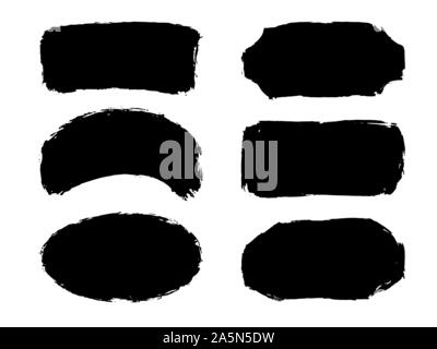 Set of six hand drawn abstract black paint labels or frames. Vector collection of shapes isolated on white background. Design elements for labels - Stock Photo