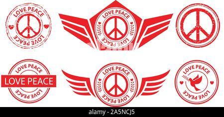 red love peace label banner stamp sign set, vector, illustration symbol - Stock Photo