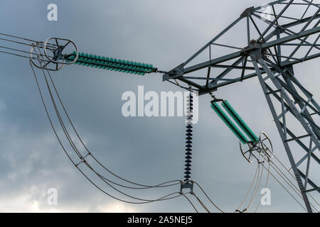 High voltage power lines and green insulators